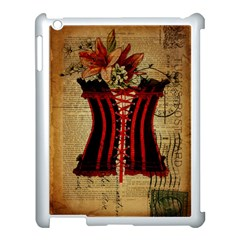 Black Red Corset Vintage Lily Floral Shabby Chic French Art Apple Ipad 3/4 Case (white) by chicelegantboutique