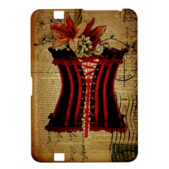 Black Red Corset Vintage Lily Floral Shabby Chic French Art Kindle Fire Hd 8 9  Hardshell Case by chicelegantboutique