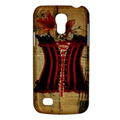 Black Red Corset Vintage Lily Floral Shabby Chic French Art Samsung Galaxy S4 Mini Hardshell Case  by chicelegantboutique