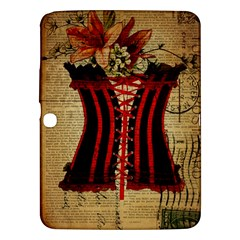 Black Red Corset Vintage Lily Floral Shabby Chic French Art Samsung Galaxy Tab 3 (10 1 ) P5200 Hardshell Case  by chicelegantboutique