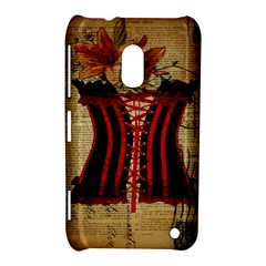 Black Red Corset Vintage Lily Floral Shabby Chic French Art Nokia Lumia 620 Hardshell Case by chicelegantboutique