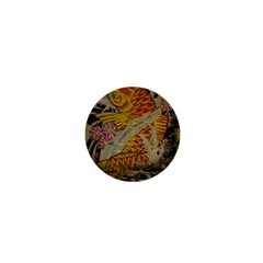 Funky Japanese Tattoo Koi Fish Graphic Art 1  Mini Button Magnet
