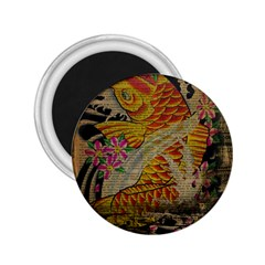 Funky Japanese Tattoo Koi Fish Graphic Art 2 25  Button Magnet