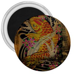 Funky Japanese Tattoo Koi Fish Graphic Art 3  Button Magnet by chicelegantboutique