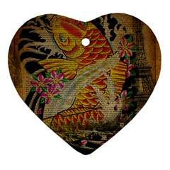 Funky Japanese Tattoo Koi Fish Graphic Art Heart Ornament by chicelegantboutique