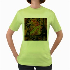 Funky Japanese Tattoo Koi Fish Graphic Art Womens  T Shirt (green) by chicelegantboutique