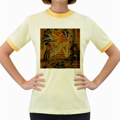 Funky Japanese Tattoo Koi Fish Graphic Art Womens  Ringer T Shirt (colored) by chicelegantboutique