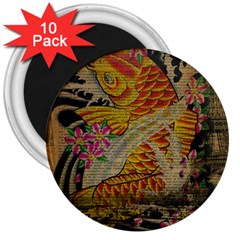 Funky Japanese Tattoo Koi Fish Graphic Art 3  Button Magnet (10 Pack) by chicelegantboutique