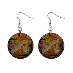 Funky Japanese Tattoo Koi Fish Graphic Art Mini Button Earrings by chicelegantboutique