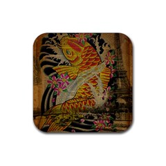 Funky Japanese Tattoo Koi Fish Graphic Art Drink Coaster (square) by chicelegantboutique
