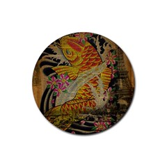 Funky Japanese Tattoo Koi Fish Graphic Art Drink Coaster (round) by chicelegantboutique