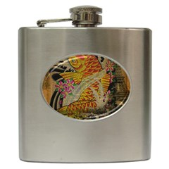 Funky Japanese Tattoo Koi Fish Graphic Art Hip Flask by chicelegantboutique