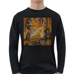 Funky Japanese Tattoo Koi Fish Graphic Art Mens' Long Sleeve T Shirt (dark Colored) by chicelegantboutique