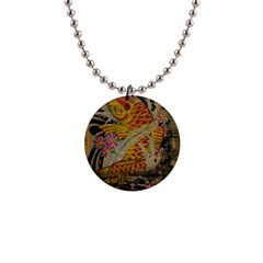 Funky Japanese Tattoo Koi Fish Graphic Art Button Necklace by chicelegantboutique