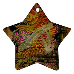 Funky Japanese Tattoo Koi Fish Graphic Art Star Ornament (two Sides) by chicelegantboutique