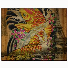 Funky Japanese Tattoo Koi Fish Graphic Art Canvas 8  X 10  (unframed) by chicelegantboutique