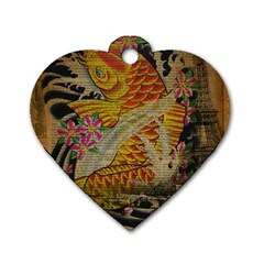 Funky Japanese Tattoo Koi Fish Graphic Art Dog Tag Heart (one Sided)  by chicelegantboutique