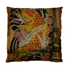 Funky Japanese Tattoo Koi Fish Graphic Art Cushion Case (two Sided)  by chicelegantboutique