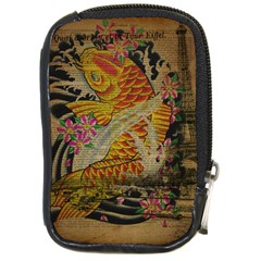 Funky Japanese Tattoo Koi Fish Graphic Art Compact Camera Leather Case by chicelegantboutique