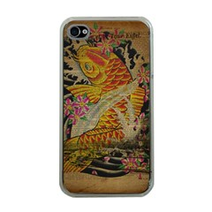 Funky Japanese Tattoo Koi Fish Graphic Art Apple Iphone 4 Case (clear) by chicelegantboutique