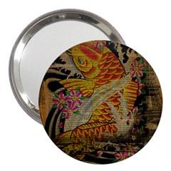 Funky Japanese Tattoo Koi Fish Graphic Art 3  Handbag Mirror