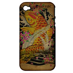 Funky Japanese Tattoo Koi Fish Graphic Art Apple Iphone 4/4s Hardshell Case (pc+silicone) by chicelegantboutique