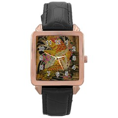 Funky Japanese Tattoo Koi Fish Graphic Art Rose Gold Leather Watch  by chicelegantboutique