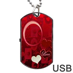 Red Love Dog Tag Usb Flash 2 Sides By Ellan   Dog Tag Usb Flash (two Sides)   Wt4ju2mmaqd1   Www Artscow Com Front