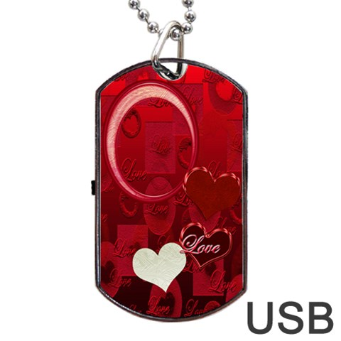 Red Love Dog Tag Usb Flash 1 Side By Ellan   Dog Tag Usb Flash (one Side)   Ipqtuzmo4o7k   Www Artscow Com Front