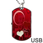 Red love Dog Tag USB Flash 1 side - Dog Tag USB Flash (One Side)