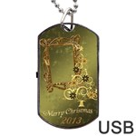 Merry Christmas Swirl 2013 Dog Tag usb Flash 2 sides - Dog Tag USB Flash (Two Sides)