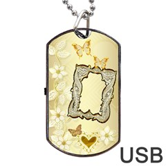 Gold Wedding Lace Dog Tag Usb Flash 2 Sides By Ellan   Dog Tag Usb Flash (two Sides)   Ie52zb4iyj4q   Www Artscow Com Front