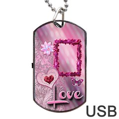Pink Love Dog Tag Usb Flash 2 Sides By Ellan   Dog Tag Usb Flash (two Sides)   1yqak0o6p9m4   Www Artscow Com Front