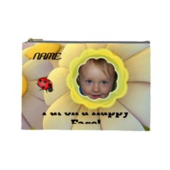 Happy Face Large Cosmetic Bag By Joy Johns   Cosmetic Bag (large)   On61xaftdmx7   Www Artscow Com Front