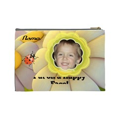 Happy Face Large Cosmetic Bag By Joy Johns   Cosmetic Bag (large)   On61xaftdmx7   Www Artscow Com Back