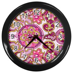 Floral Fantasy Wall Clock (black) by Contest1702305