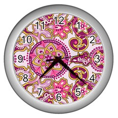 Floral Fantasy Wall Clock (Silver) by Contest1702305