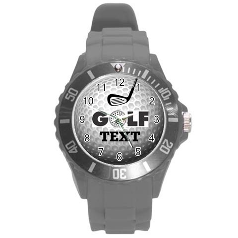 Unisex Golf White Sports Watch, Large By Joy Johns   Round Plastic Sport Watch (l)   Iztk0ug0sc9n   Www Artscow Com Front