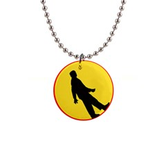 Walking Traffic Sign Button Necklace by youshidesign