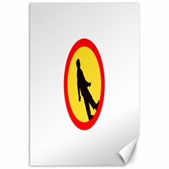 Walking Traffic Sign Canvas 24  X 36  (unframed) by youshidesign