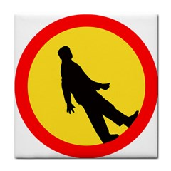 Walking Traffic Sign Ceramic Tile by youshidesign