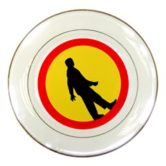 Walking Traffic Sign Porcelain Display Plate by youshidesign