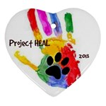 Project HEAL white & date Heart ornament - Ornament (Heart)