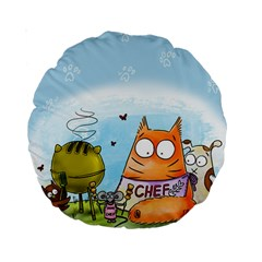 Apron 15  Premium Round Cushion  by PookieCatWorld