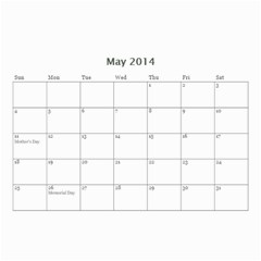 Calander For Tzipora By Chaya   Wall Calendar 8 5  X 6    6szcbyv82agn   Www Artscow Com May 2014