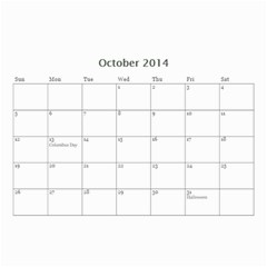 Calander For Tzipora By Chaya   Wall Calendar 8 5  X 6    6szcbyv82agn   Www Artscow Com Oct 2014