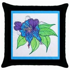 Flower Design Black Throw Pillow Case by JacklyneMae