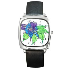 Flower Design Square Leather Watch by JacklyneMae