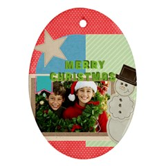Merry Christmas By Merry Christmas   Oval Ornament (two Sides)   Ziyeyfi0acul   Www Artscow Com Front
