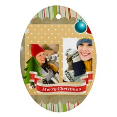 Merry Christmas By Merry Christmas   Oval Ornament (two Sides)   B7rle5bq6c8f   Www Artscow Com Front